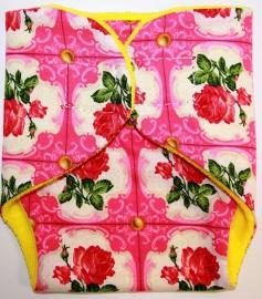 Luiertje voor babyborn roze geel rozen