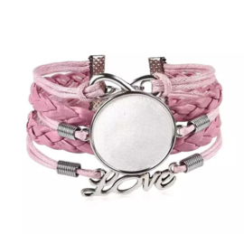 Dames armband roze love, met setting 25 mm