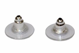Oorbellen knopjes rubber/metaal, per paar