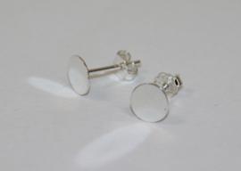 Oorbellen zilver 925 met lijmvlak 5mm incl knopjes, per paar