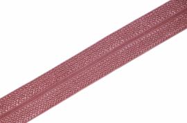 Elastisch biaisband/vouwtres JAQUARD kleur old rosé 20 mm per 0,5 meter