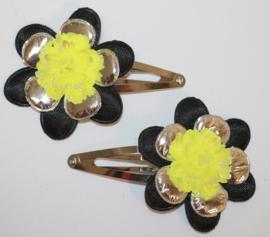 Haarclipjes bloem zwart/zilver en roos neongeel