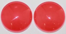 Glas flatback cabochon 12 mm donkeroranje per 2 stuks