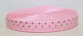 Elastisch band lichtroze met zilveren stippen 16 mm per 5 meter