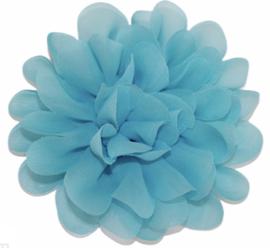 Stoffen bloem 10 cm aquablauw