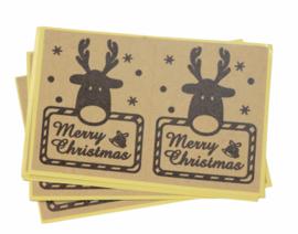 Kerst stickers merry christmas rendier bruin 12 stuks