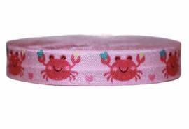 Elastisch band roze met krab 16 mm per 0,5 meter