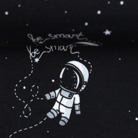 French terry tricot: Astronaut zwart-wit (Swafing) , per 25 cm