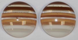 Flatback rondjes wit/koffiebruin 13mm, per paar