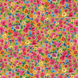 Tricot digitale print: Dalbir flowers ochre (a spark of Happiness), per 25 cm
