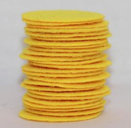 Rond viltje geel 25mm, per stuk