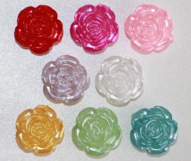 roosjes parelmoer glans 12mm, diverse kleuren