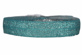 Elastisch band aquablauw-groen glitter 16 mm per 0,5 meter