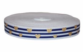 Elastisch band wit met donkerblauw streepjes, gouden hartjes 16 mm per 0,5 meter