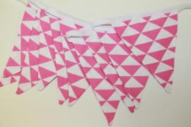 10 Mini vlaggetjes roze met witte driehoekjes