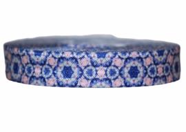 Elastisch biaisband blauw met print 16 mm per 0,5 meter