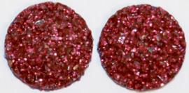 Rondje shiny donkerroze flatback 12mm, per 2 stuks