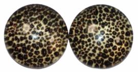 12 mm glascabochon panterprint per 2 stuks