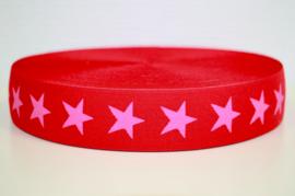 Rood-roze ster elastiek 40 mm per 0,5 meter