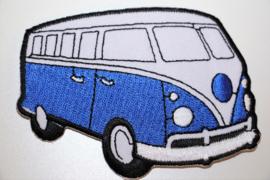 Applicatie VW busje blauw 9 x  6,5 cm
