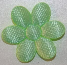 Bloem applicatie 30 mm effen zachtgroen satijn per 5 stuks