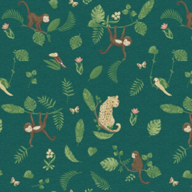 Digitale print tricot tricot: swinging monkeys, per 25 cm