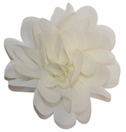 Stoffen bloem 7 cm cremewit