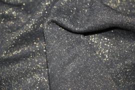 Zwart met goud glitter boordstof. Rondgebreid 35 cm. Per 25 cm