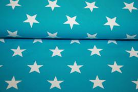Tricot aquablauw met witte sterren per 25cm