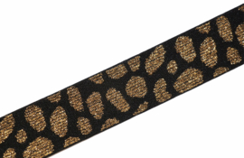 Elastiek lurex goud/zwart panter 25 mm per 0,5 meter