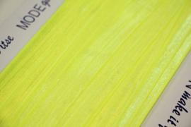 Elastisch biaisband/vouwtres neongeel 20 mm per 0,5 meter