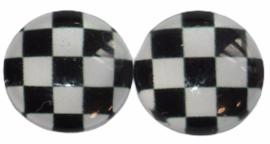 12 mm glascabochon zwart-wit geblokt  per 2 stuks