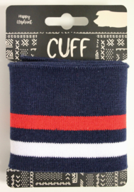 Cuff two stripes donkerblauw- offwhite/rood 7x110 cm