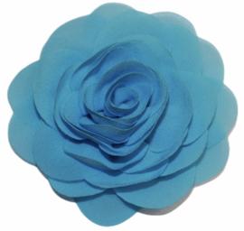 Stoffen bloem 8 cm aquablauw