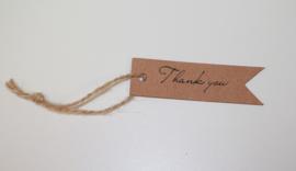 Bruine kartonnen kaartjes thank you, per 10 stuks