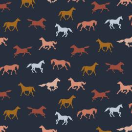Tricot GOTS: horses, per 25 cm