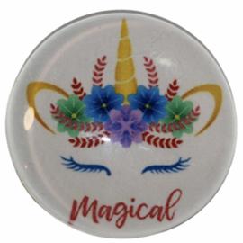 Glas cabochon 25mm: Unicorn magical