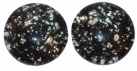 12 mm glascabochon sparkles black-white, per 2 stuks