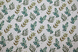 Tricot digitale print : blaadjes/takjes (Stenzo) per 25 cm