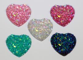 Flatback glitter hart 12mm, per stuk