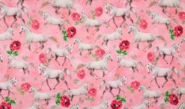 Digitale print tricot : Horses in pink, per 25 cm
