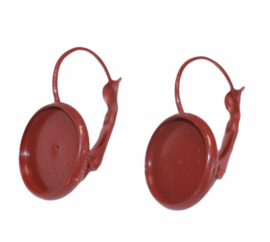 Oorbellen French lever back roodbruin 25 x 14mm, setting 12mm : per paar