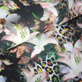 Digitale print tricot : Flowers Ochre, per 25 cm