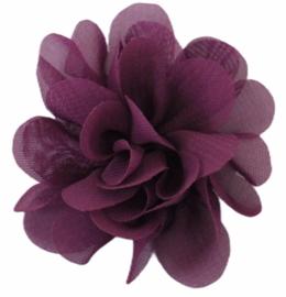 Stoffen bloem 5 cm aubergine