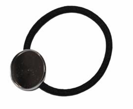 Haarelastiek zwart met setting zilverkleur 20 mm, per stuk