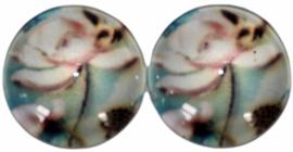 Glas flatback cabochon 12mm zachtroze bloemen, per 2 stuks