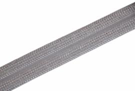 Elastisch biaisband/vouwtres JACQUARD kleur zilver 20 mm per 0,5 meter