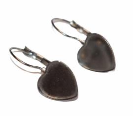 Oorbellen french lever back hart-vorm RVS setting 12 mm, per paar