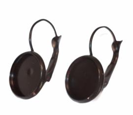 Oorbellen French lever back chocoladebruin 25 x 14mm, setting 12mm : per paar