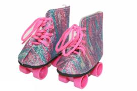 Rolschaatsjes bluaw/roze voor babyborn